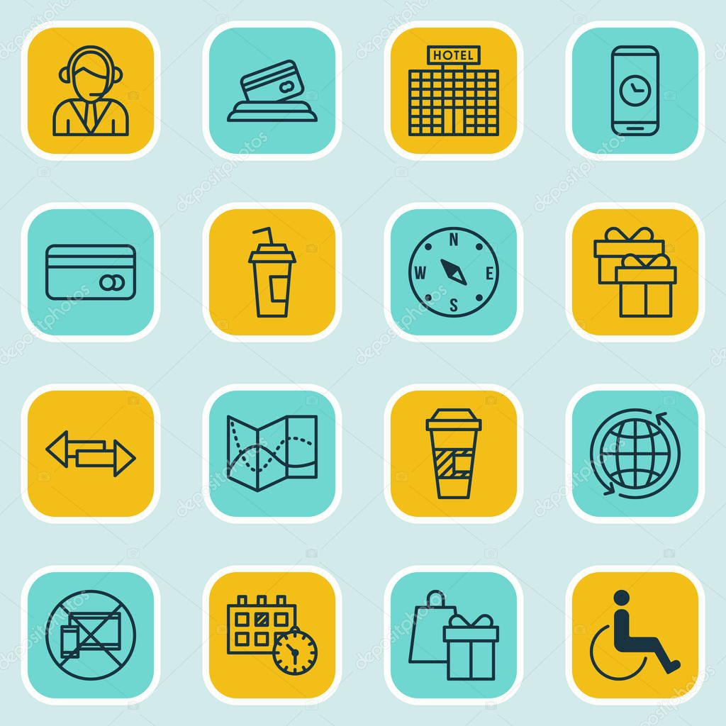 Set Of Travel Icons On Credit Card, Plastic Card And Present Topics. Editable Vector Illustration. Includes Gift, Payment, Phone And More Vector Icons.