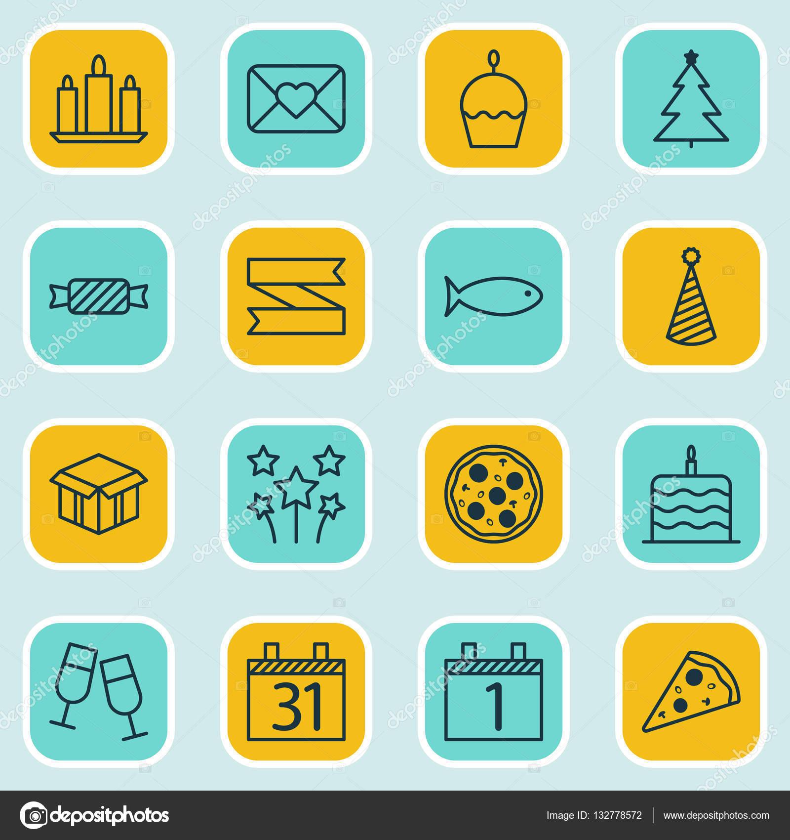 conjunto de 16 cones de feliz ano novo pode ser usado para web mobile ui e infographic. Black Bedroom Furniture Sets. Home Design Ideas