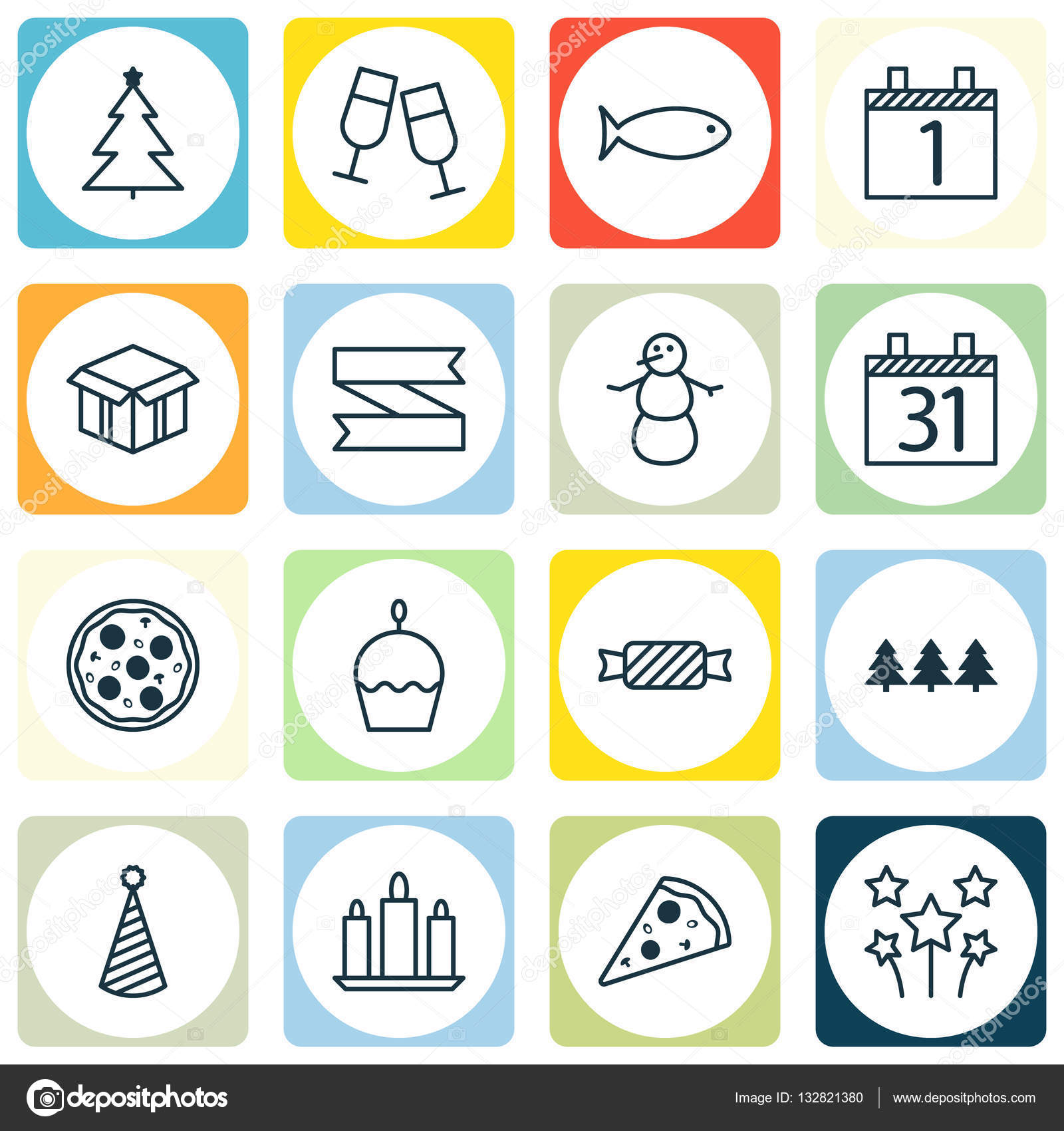 Set Of 16 Happy New Year Icons Can Be Used For Web Mobile Ui And