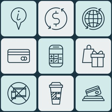 Set Of 9 Travel Icons. Can Be Used For Web, Mobile, UI And Infographic Design. Includes Elements Such As Payment, Shopping, Cup And More.