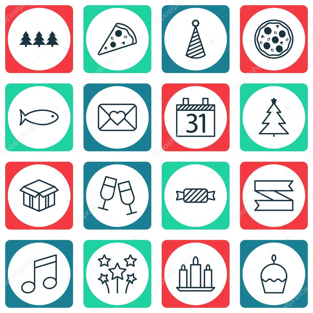 Set Of 16 Celebration Icons. Can Be Used For Web, Mobile, UI And Infographic Design. Includes Elements Such As Christmas, Slice, Cardboard And More.