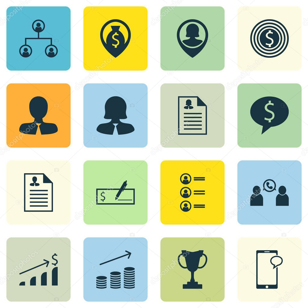 Set Of 16 Human Resources Icons. Can Be Used For Web, Mobile, UI And Infographic Design. Includes Elements Such As Structure, Bank, Pin And More.