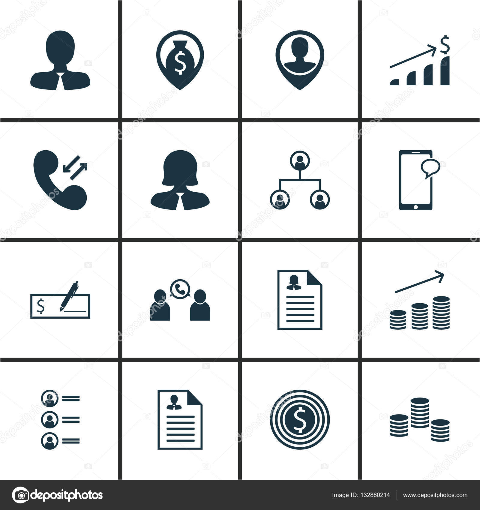 set of 16 management icons can be used for web mobile ui and