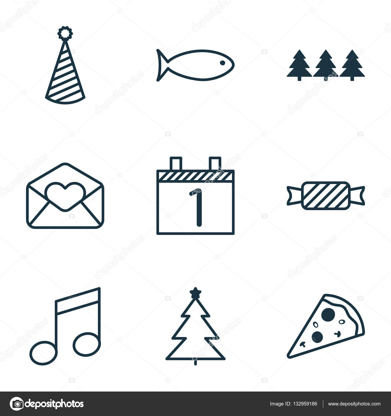 Set Of 9 Happy New Year Icons. Can Be Used For Web, Mobile, UI And ...