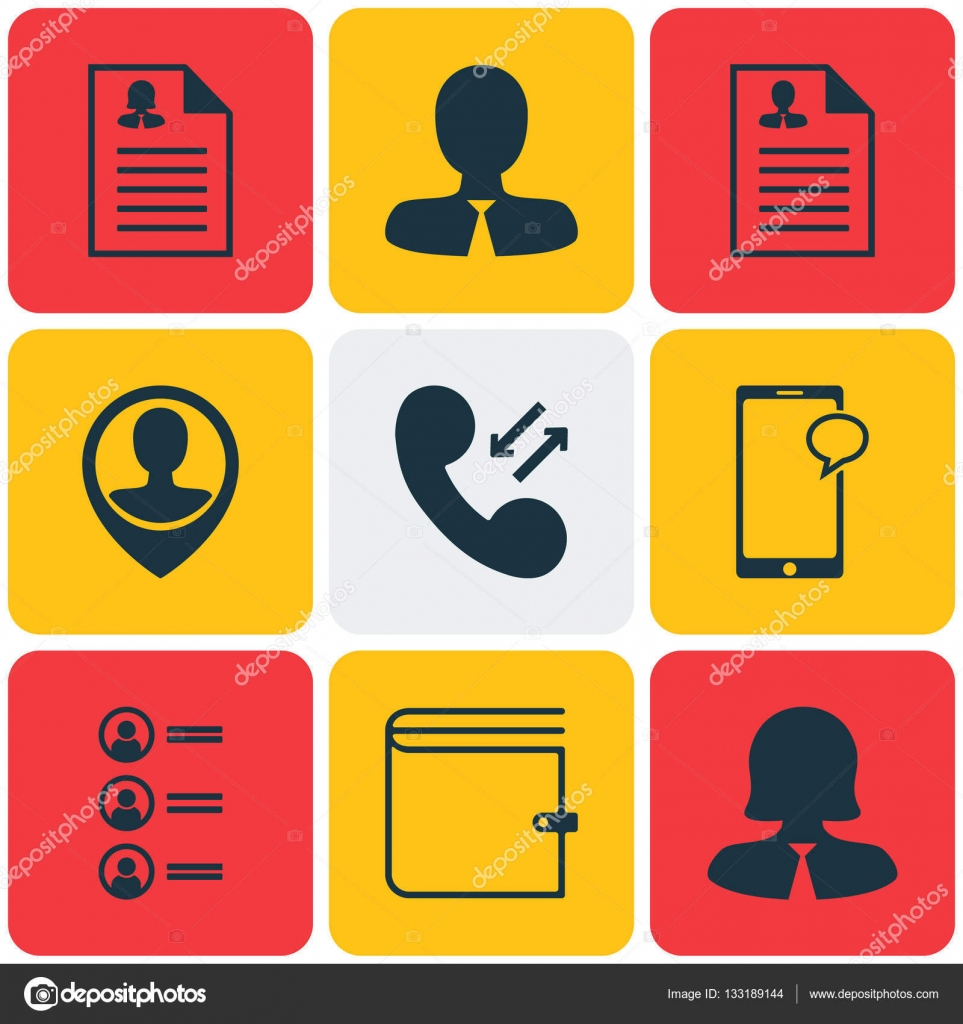 Set Of 9 Management Icons. Can Be Used For Web, Mobile, UI And ...