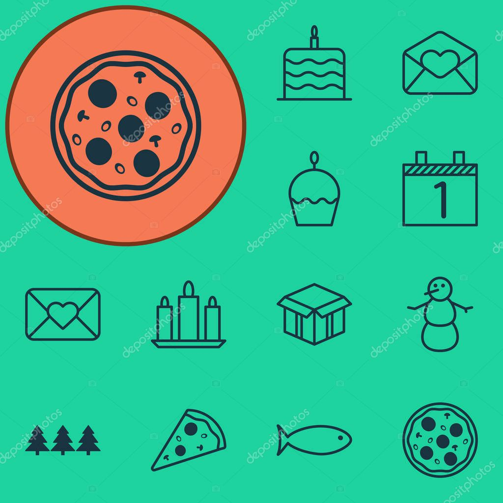 Set Of 12 New Year Icons. Can Be Used For Web, Mobile, UI And Infographic Design. Includes Elements Such As Winter, Celebration, Meal And More.