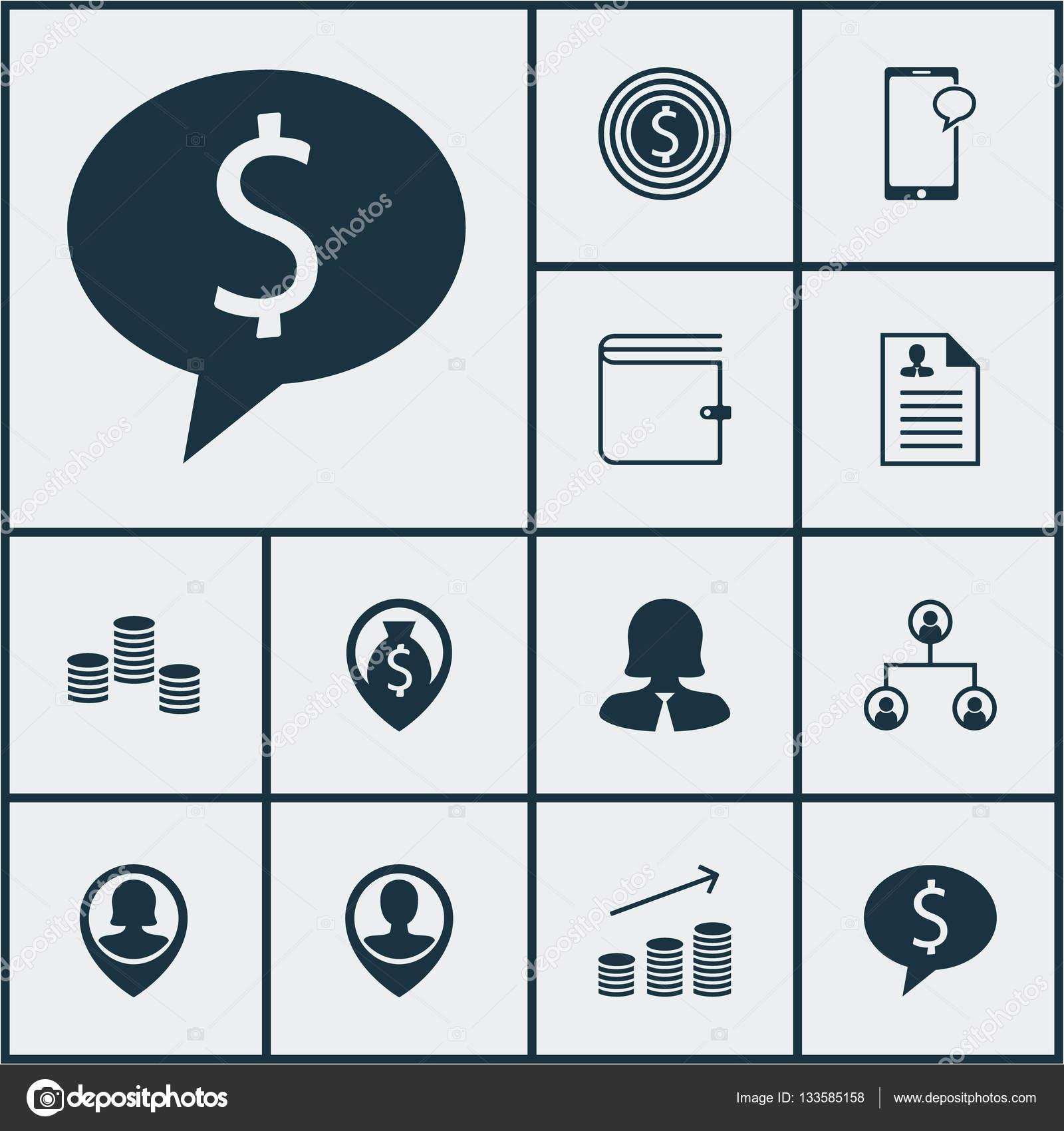 Conjunto de iconos de Hr en mujer de negocios, currículum y temas de ...