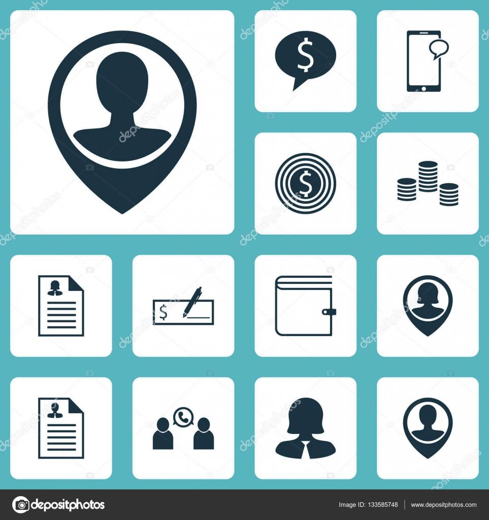 Satz von Management-Symbole auf weibliche Anwendung, Geschäftsfrau ...