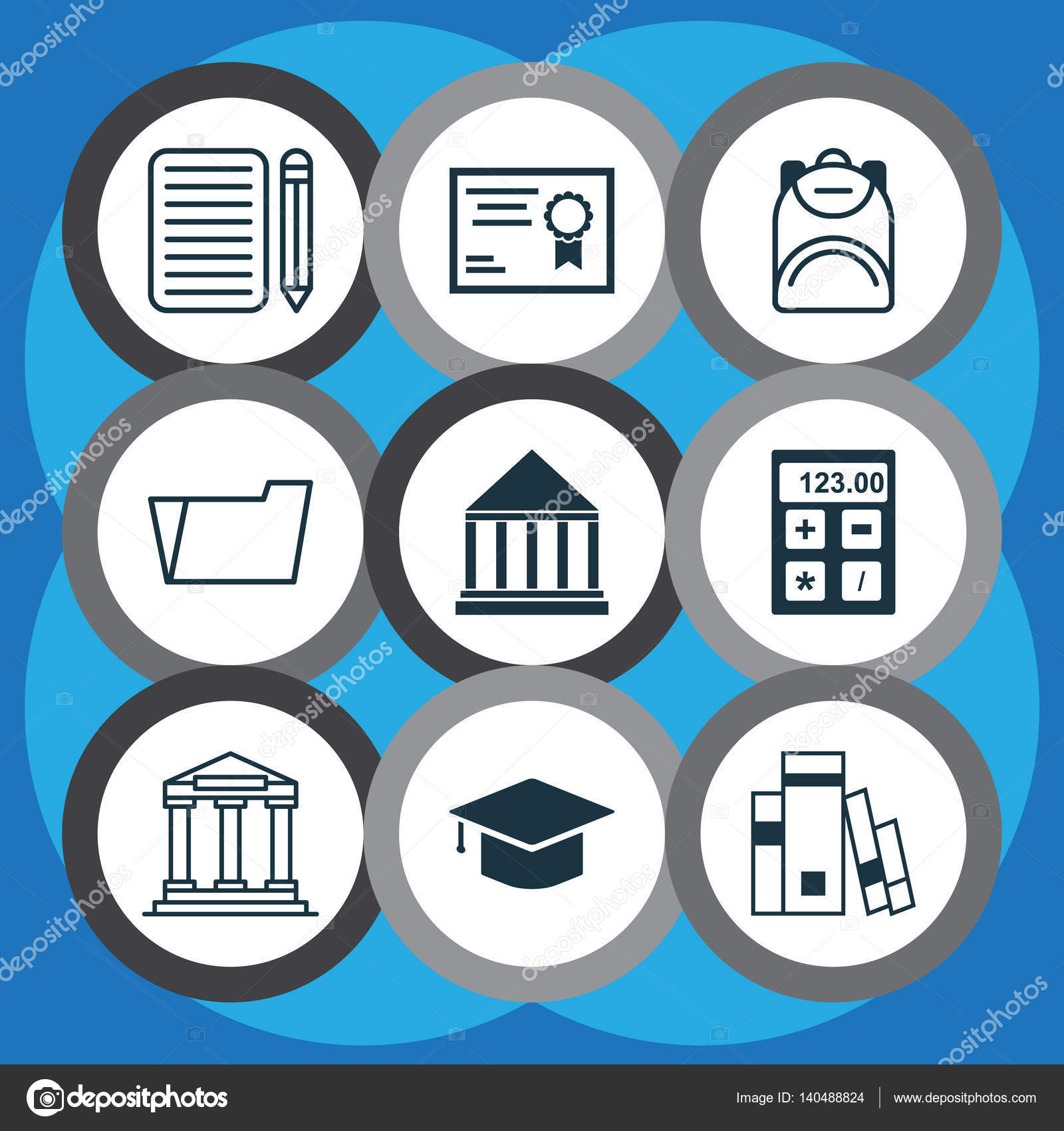 Set Of 9 School Icons. Includes Certificate, Library, Electronic ...