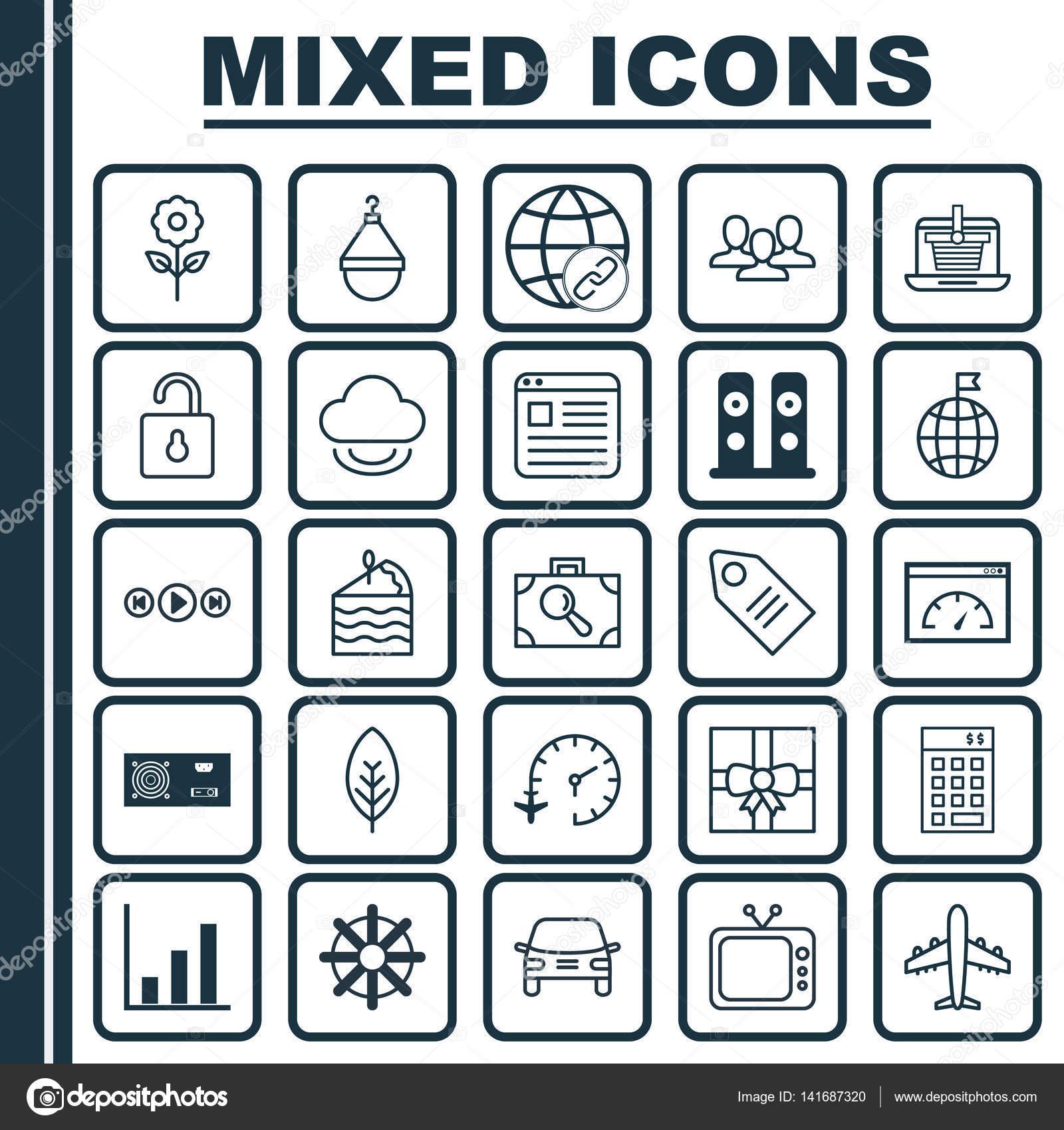Set de 25 iconos editables Universal. Puede ser utilizado para Web ...