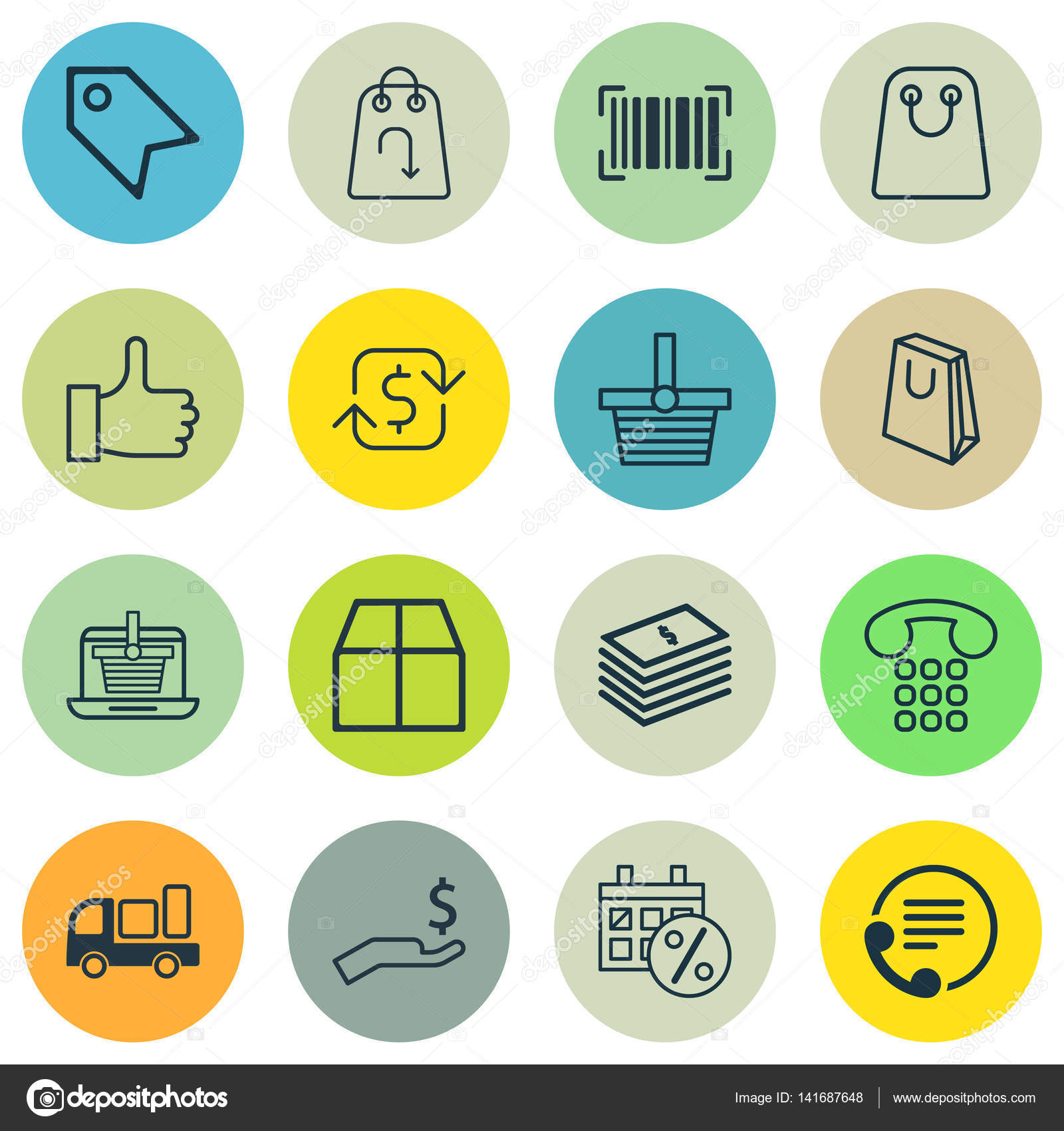 Set Of 16 Ecommerce Icons Includes E Trade Identification Code