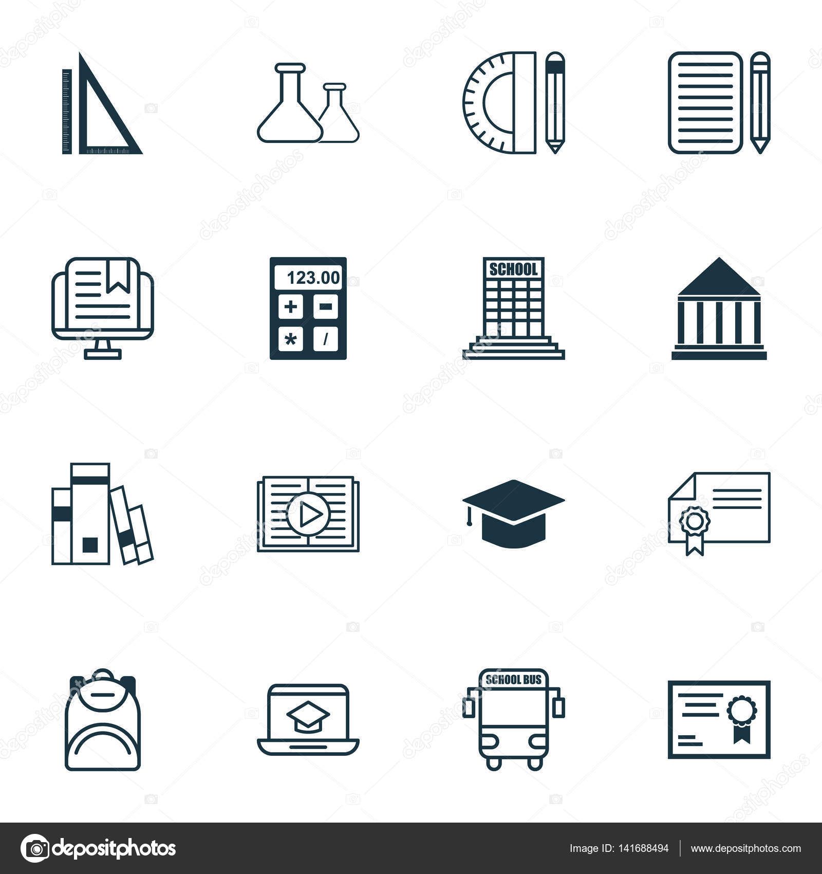 Set of 16 school icons includes distance learning education set of 16 school icons includes distance learning education center education tools and other symbols beautiful design elements buycottarizona Image collections