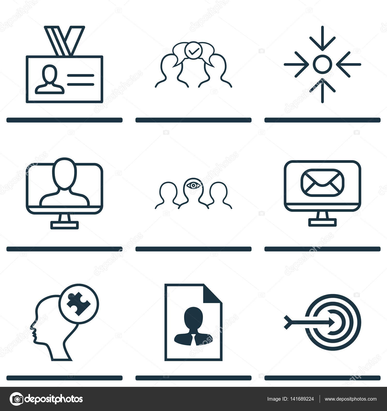 Set von 9 Business Management Icons. Coaching, Business-Ziel ...