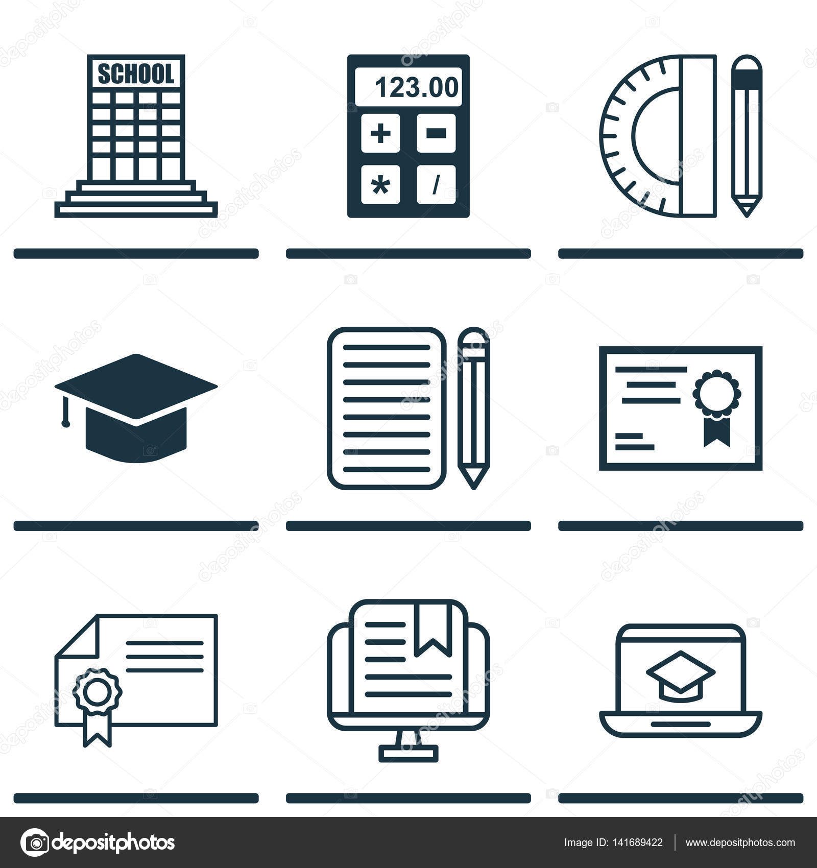 Set of 9 school icons includes e study certificate academy and includes e study certificate academy and other symbols beautiful design elements vector by aalbedouinail buycottarizona