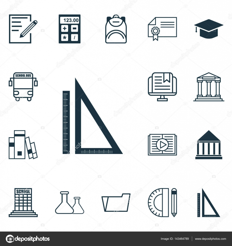 Automotive Electronic Symbols Wiring Diagram Database Vehicle Set Of 16 School Icons Includes Taped Book Transport Components