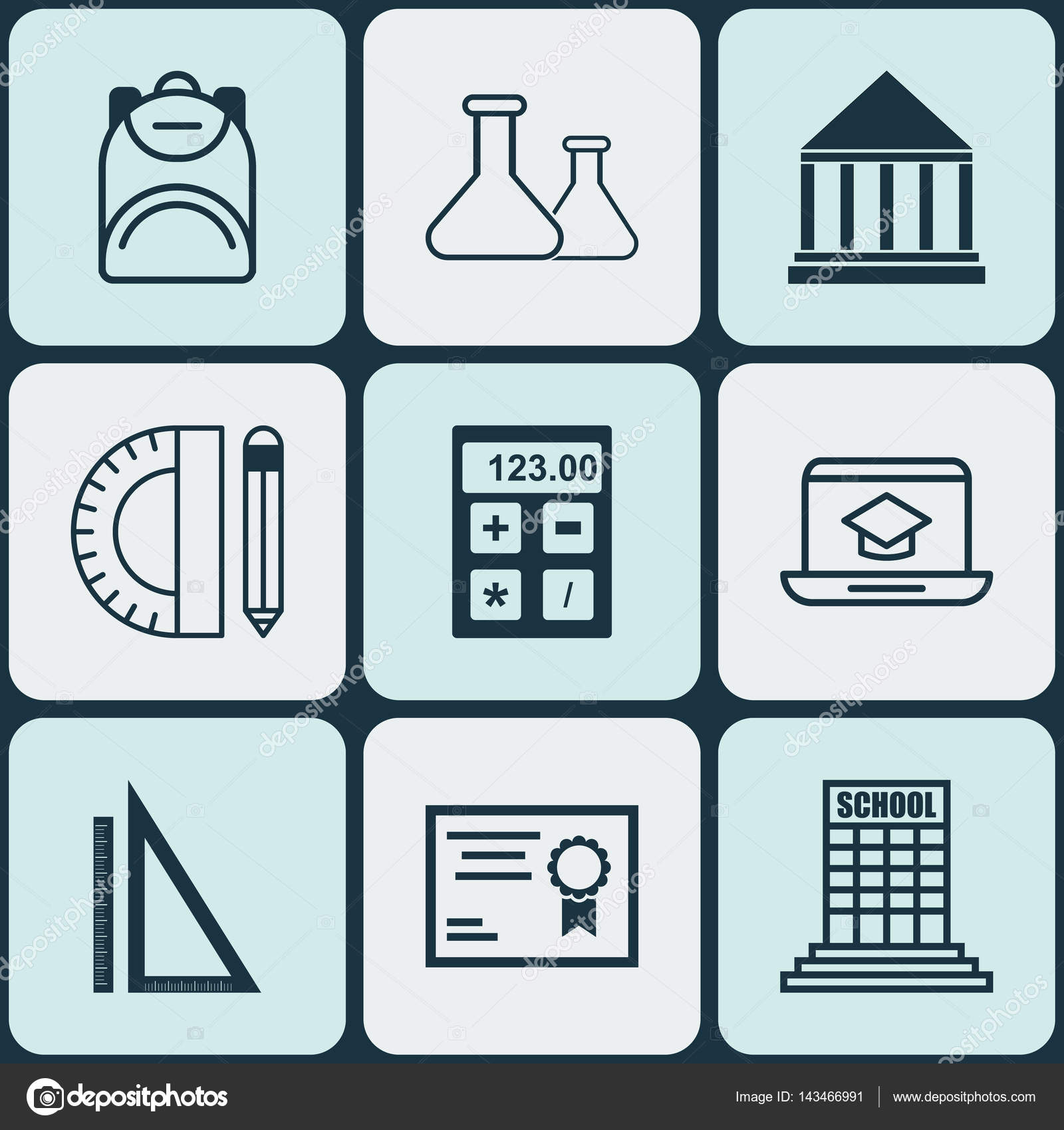 Set Of 9 School Icons Includes Education Tools Academy Distance