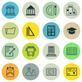 Fotografie Set Of 16 School Icons. Includes Document Case, Education Center, Chemical And Other Symbols. Beautiful Design Elements.