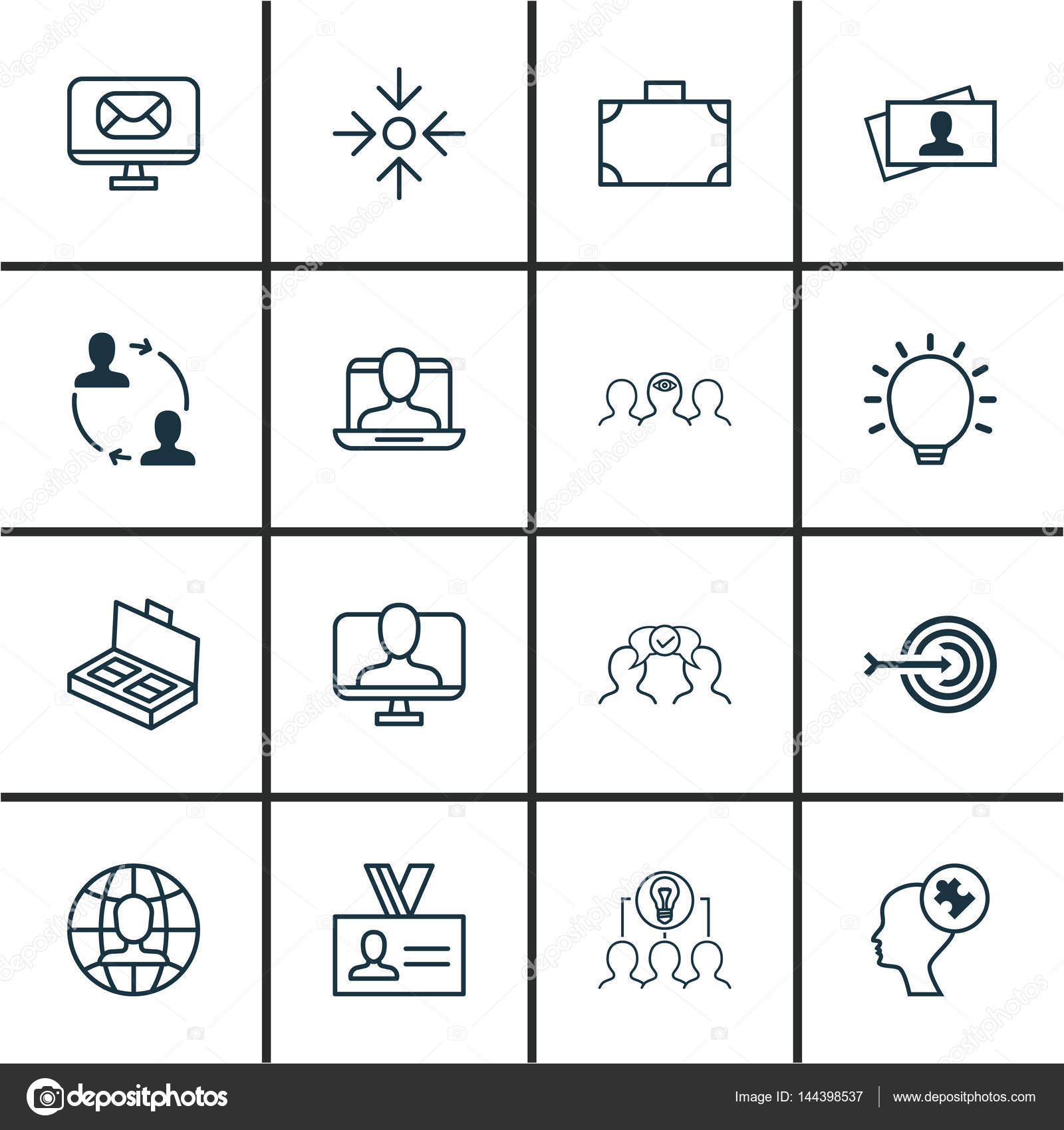 Set of 16 business management icons includes calling card social set of 16 business management icons includes calling card social profile portfolio and other symbols beautiful design elements vector by reheart Choice Image