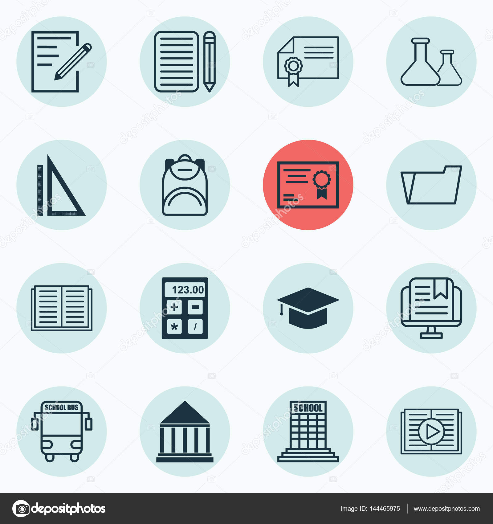Set Of 16 Education Icons Includes Education Center Home Work