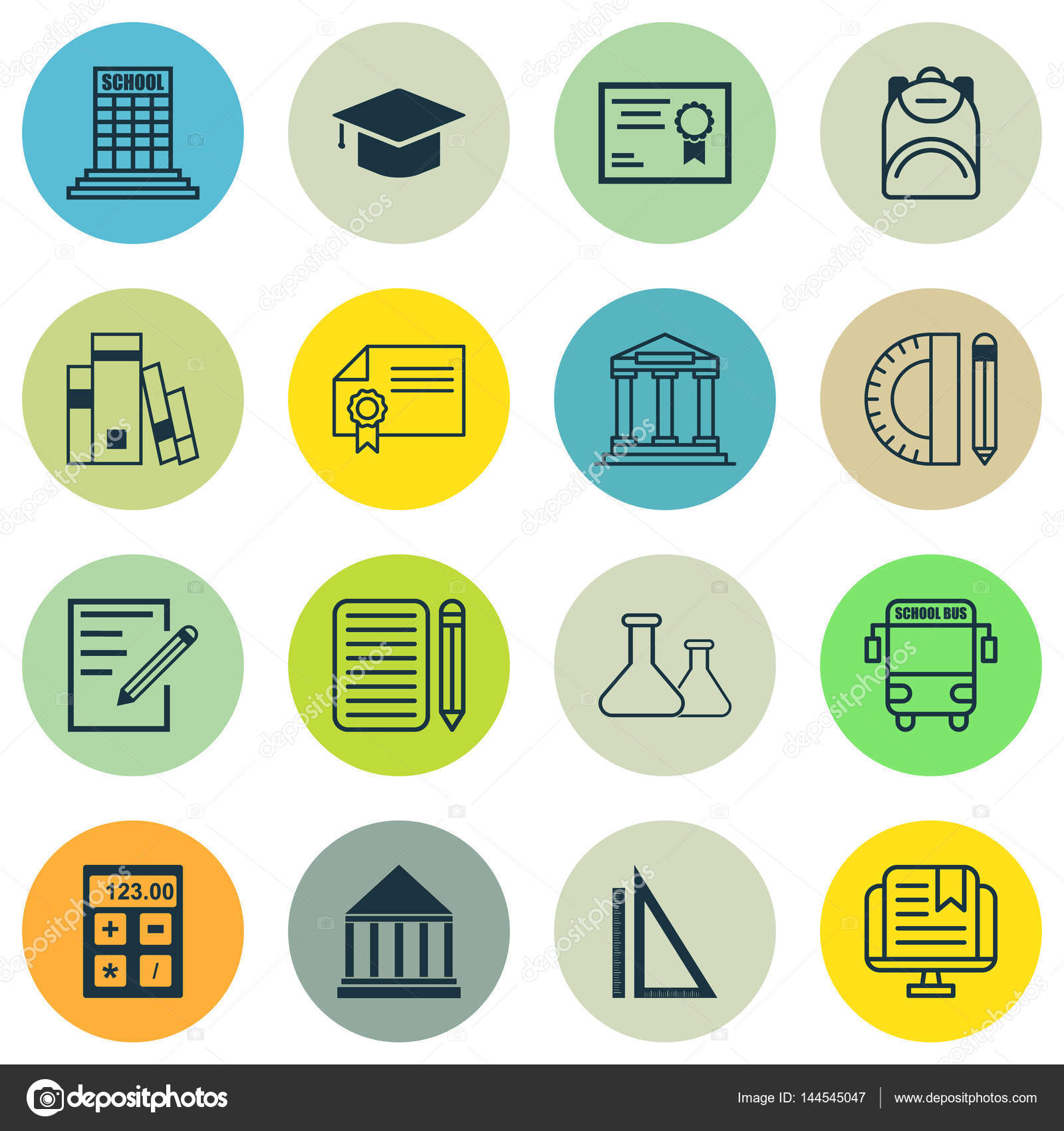 Set of 16 education icons includes certificate diploma library includes certificate diploma library and other symbols buycottarizona
