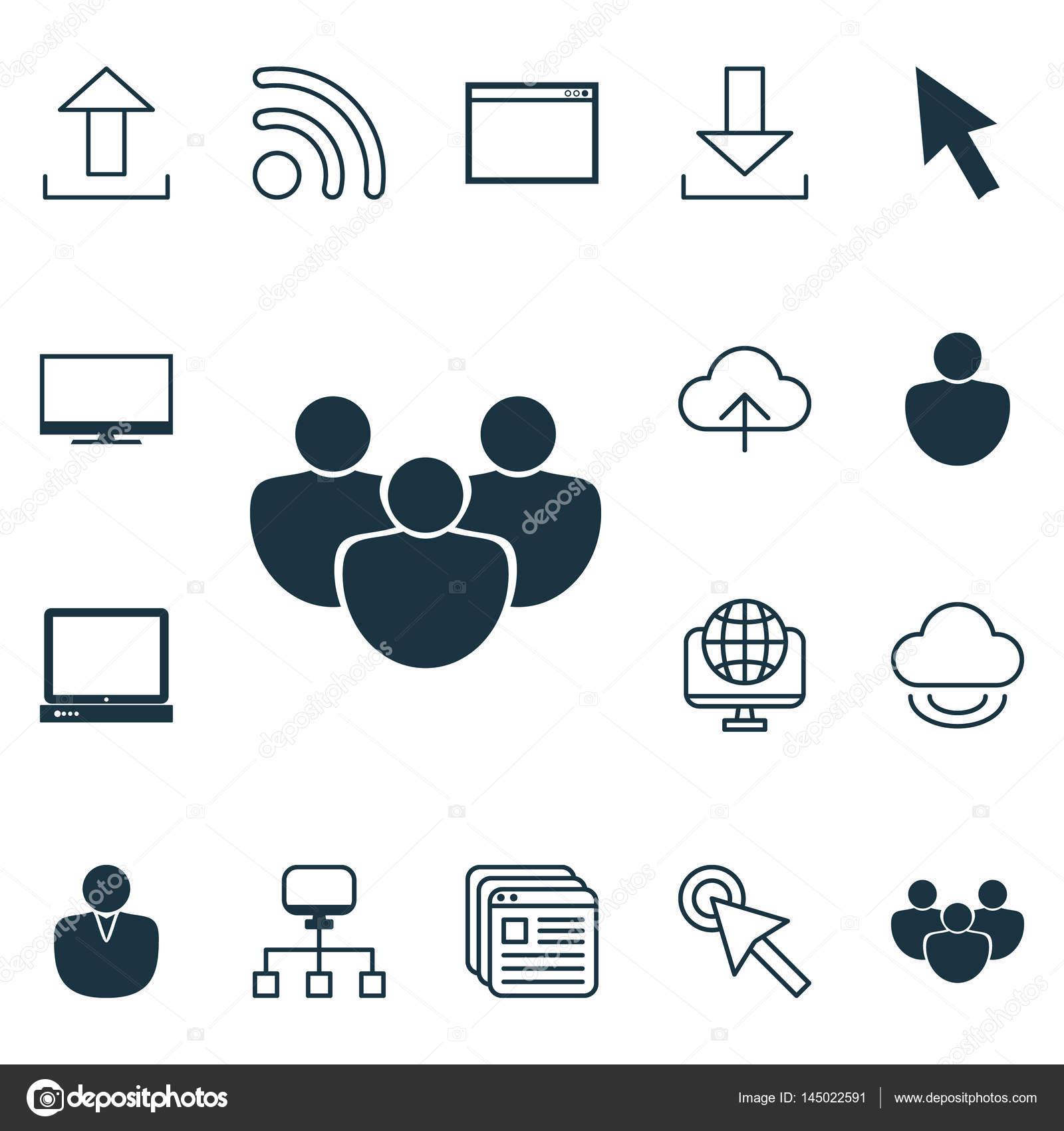 Satz von 16 Web Icons. Pc, lokale Verbindung, Programm und andere ...