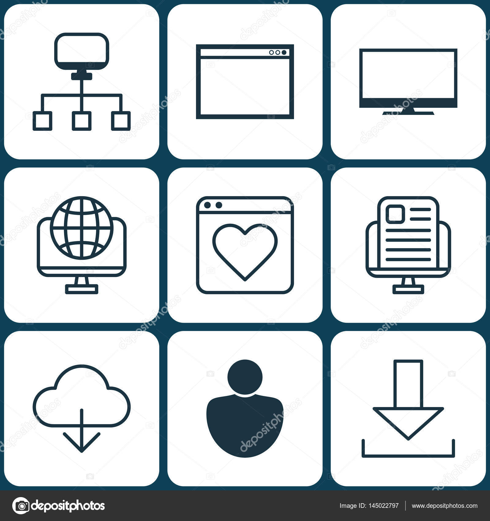 Set Of 9 Web Icons Includes Login Program Followed Website And