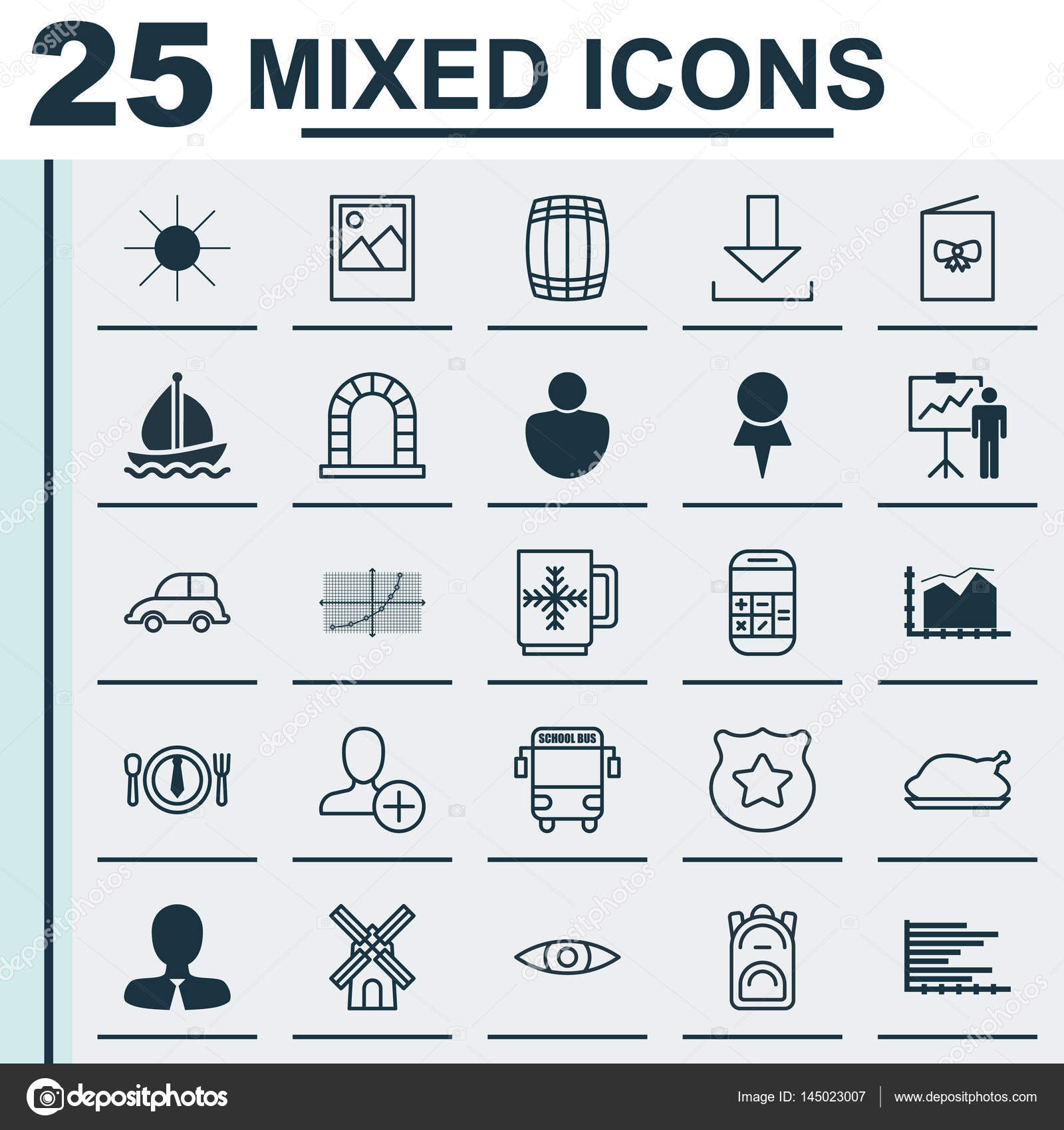 Set Of 25 Universal Editable Icons Can Be Used For Web Mobile And