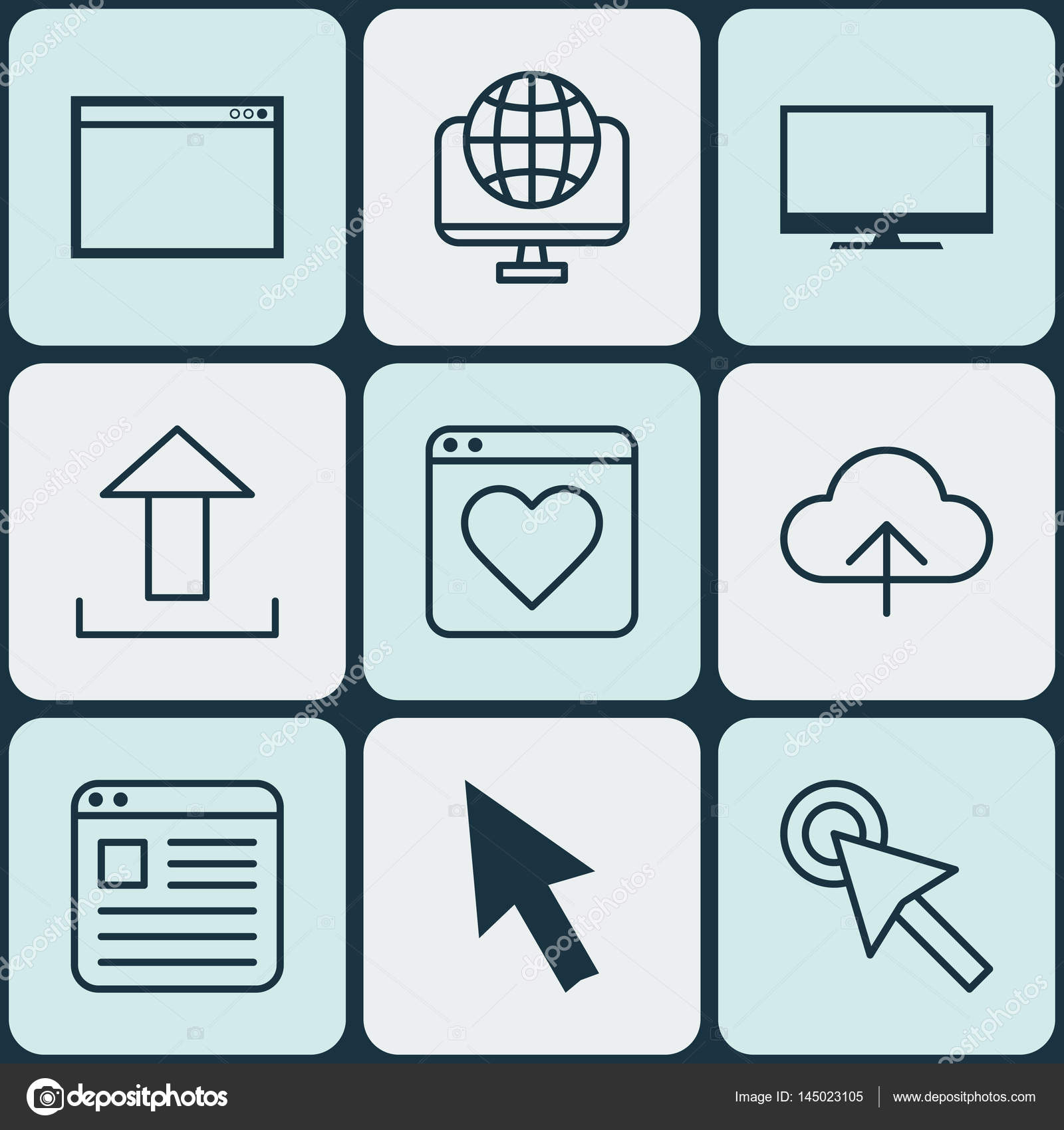 Set Of 9 Online Connection Icons Includes Mouse Followed Website