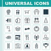 Sada 25 univerzální upravitelné ikon. Lze použít pro webové, mobilní a návrhu aplikací. Obsahuje prvky, desky, Floweret, nazdobený stromeček a další