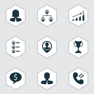 Set Of 9 Management Icons. Includes Tournament, Manager, Business Woman And Other Symbols. Beautiful Design Elements.