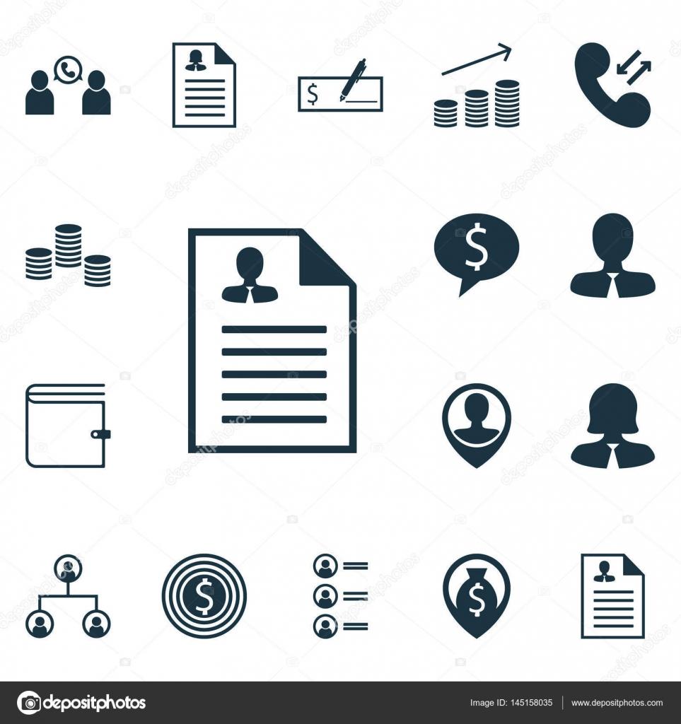 Satz von 16 Human Resources-Icons. Geld-Navigation, weibliche ...