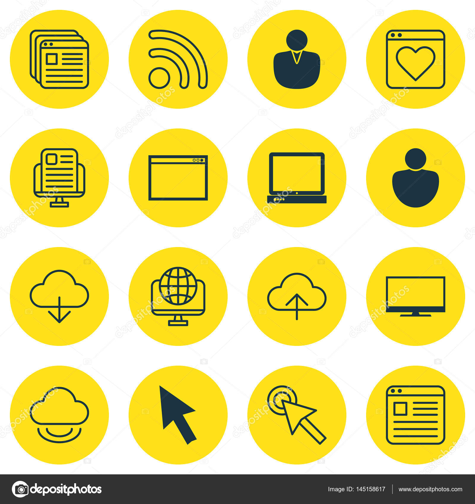 Set Of 16 Internet Icons Includes Human Mouse Followed Website