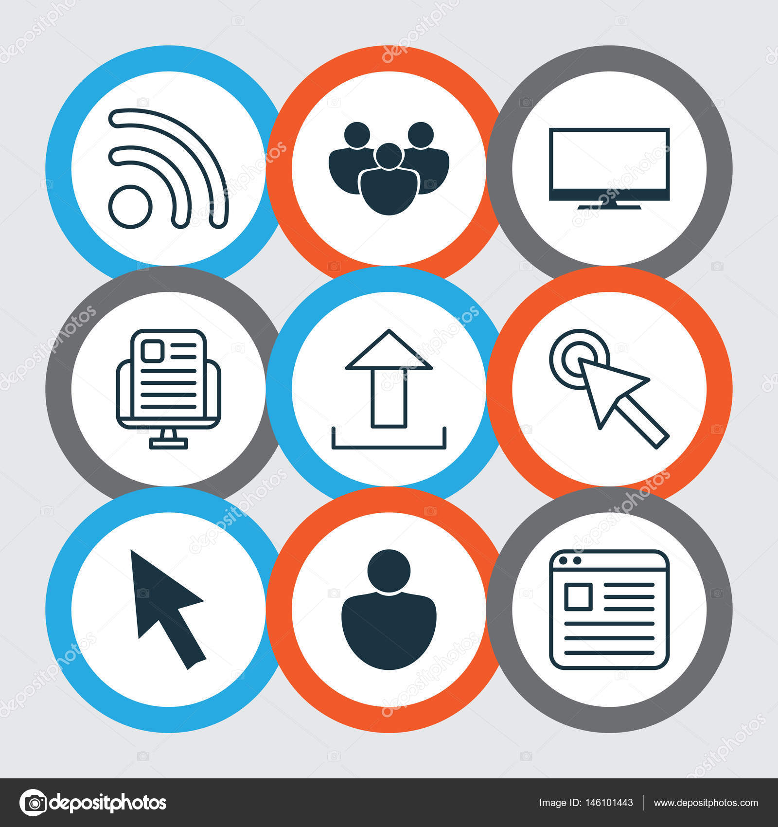 Set Of 9 Internet Icons Includes Human Wifi Website Page And