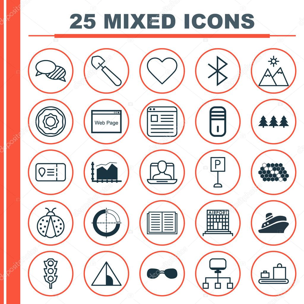 Set Of 25 Universal Editable Icons. Can Be Used For Web, Mobile And App Design. Includes Elements Such As Local Connection, Stoplight, Website Page And More.