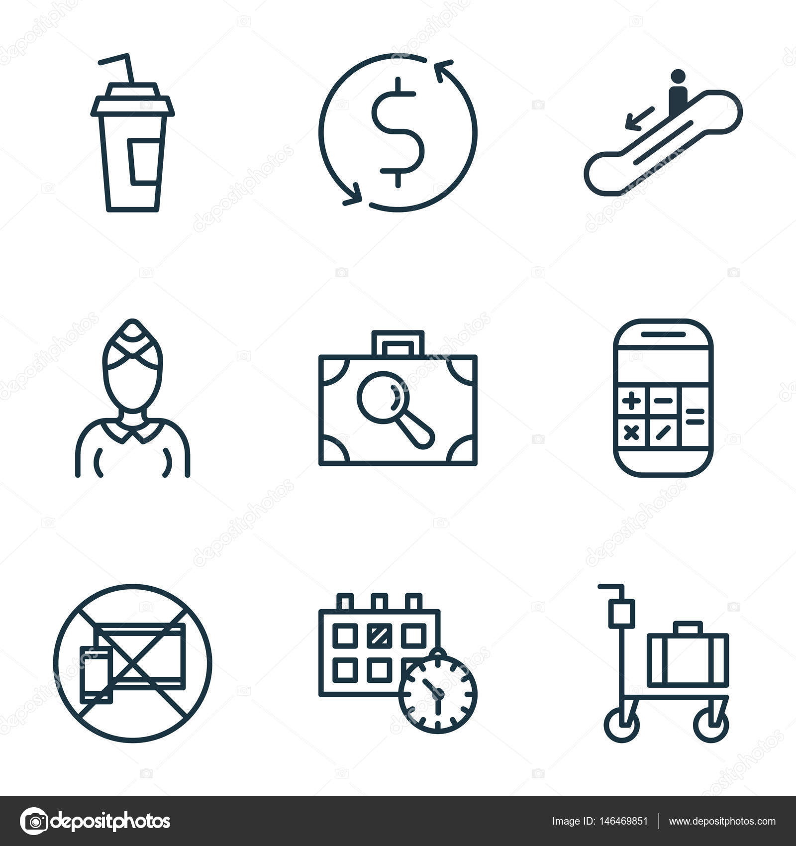 Set Of 9 Airport Icons Includes Hostess Drink Cup Baggage
