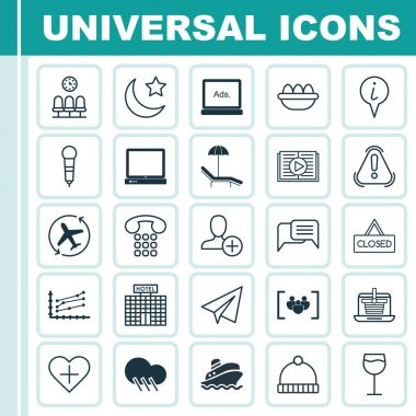 Set Of 25 Universal Editable Icons. Can Be Used For Web, Mobile And App Design. Includes Elements Such As Seats, Increase Graph, Favorite Person And More.