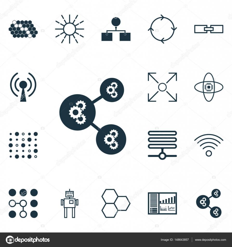 Satz von 16 künstliche Intelligenz Icons. Enthält Komponenten, Hive ...