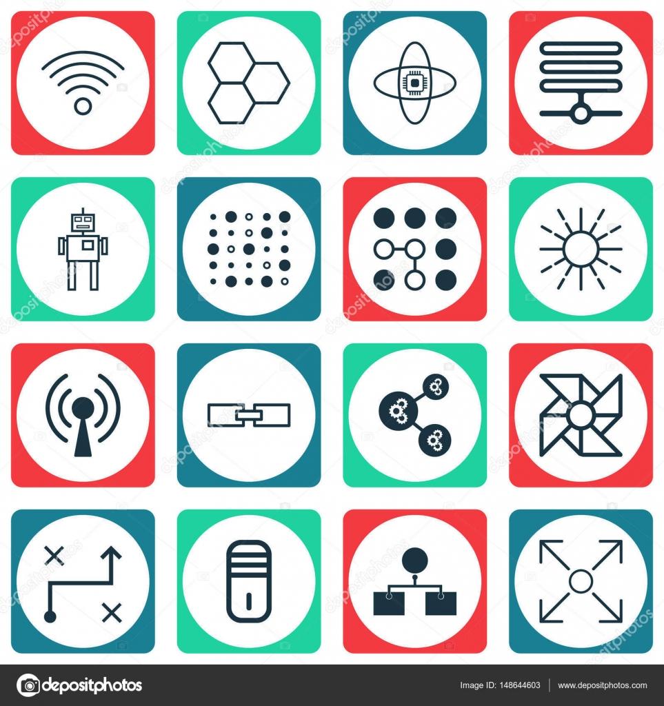 Satz von 16 Robotik-Icons. Enthält Komponenten, Leichtigkeit Modus ...