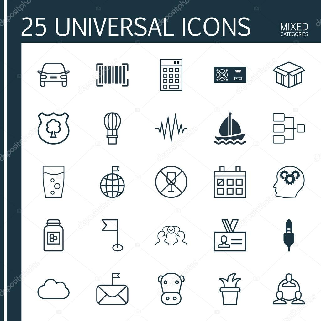 Set Of 25 Universal Editable Icons. Can Be Used For Web, Mobile And App Design. Includes Elements Such As Intellectual Process, Power Generator, Investment And More.