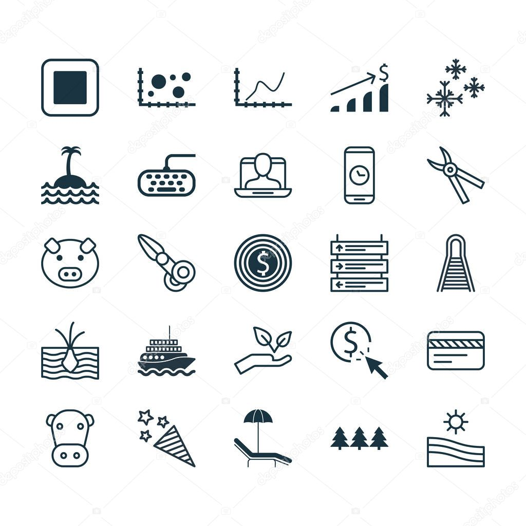 Set Of 25 Universal Editable Icons. Can Be Used For Web, Mobile And App Design. Includes Elements Such As Kine, Holiday Ornament, PPC And More.