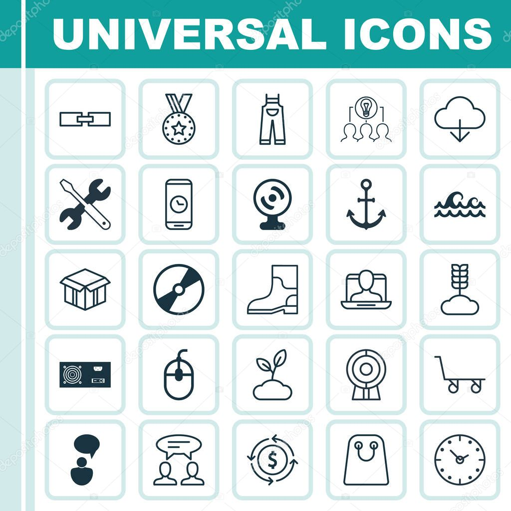 Set Of 25 Universal Editable Icons. Can Be Used For Web, Mobile And App Design. Includes Elements Such As Screwdriver With Wrench, Cd-Rom, Plant And More.