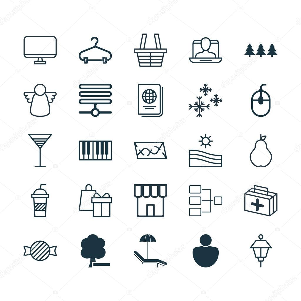 Set Of 25 Universal Editable Icons. Can Be Used For Web, Mobile And App Design. Includes Elements Such As Meadow, Delete Woods, Computer Monitor And More.