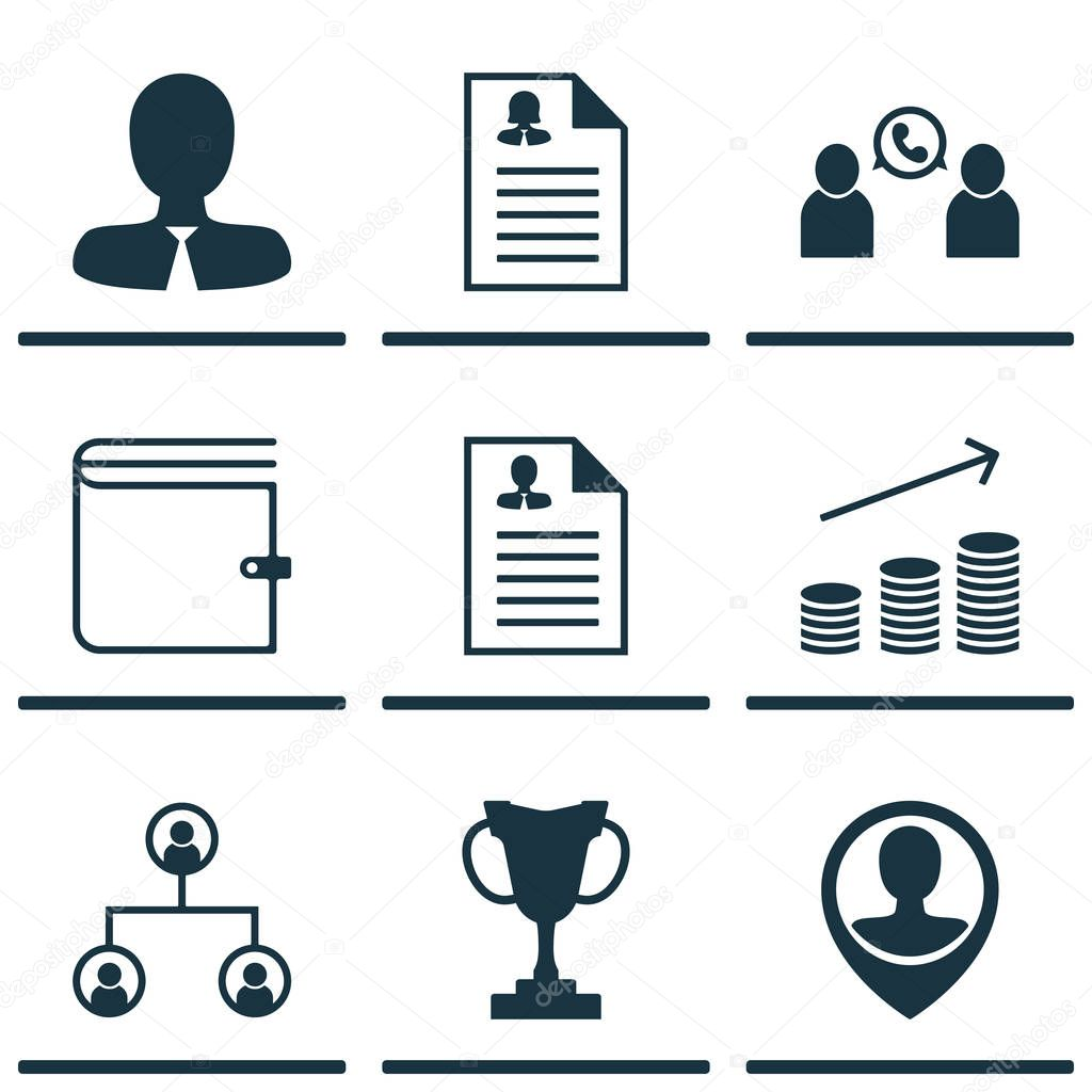 Set Of 9 Hr Icons. Includes Manager, Employee Location, Phone Conference And Other Symbols. Beautiful Design Elements.