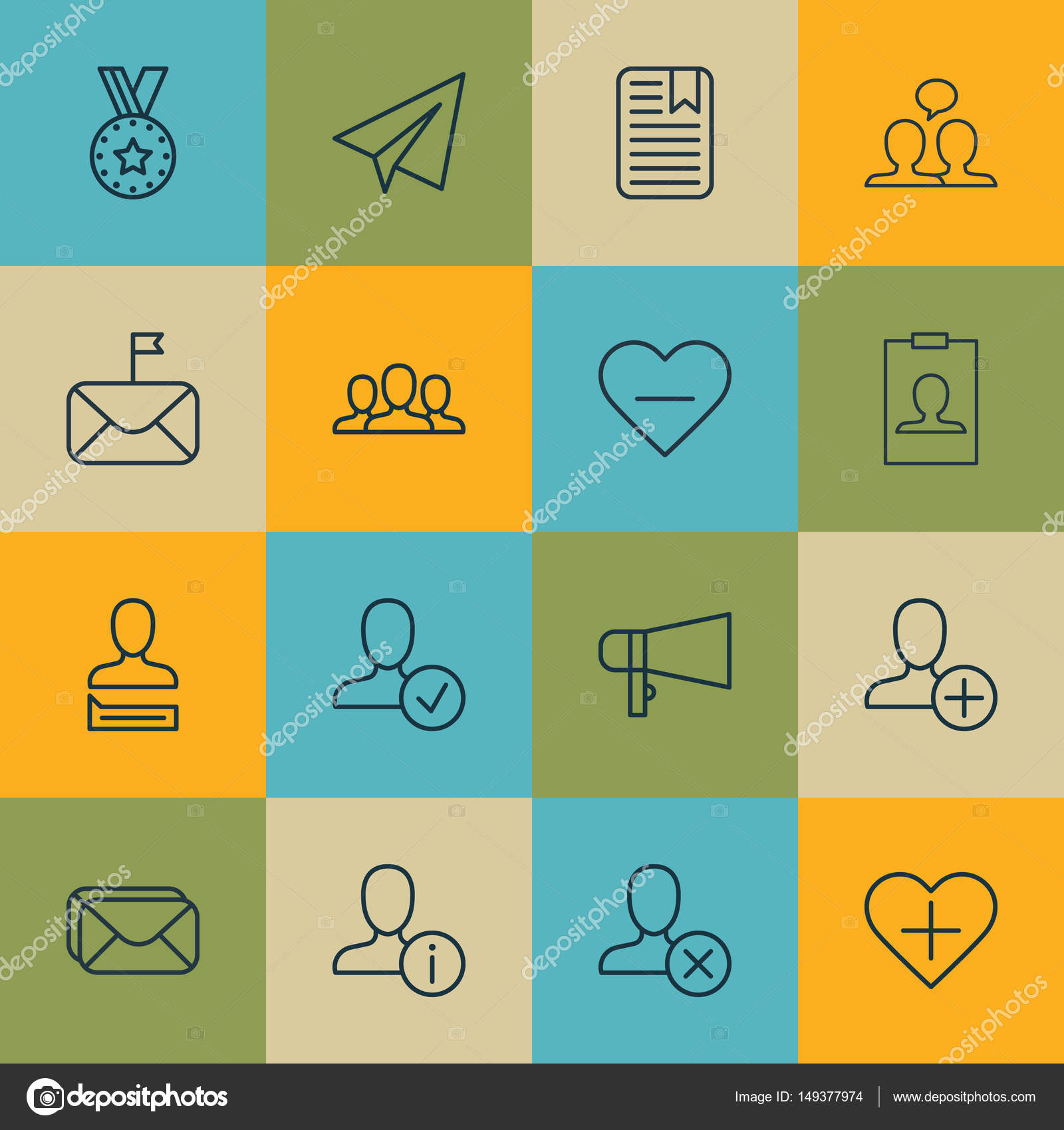 Set Of 16 Social Network Icons Includes Chatting Person Identity