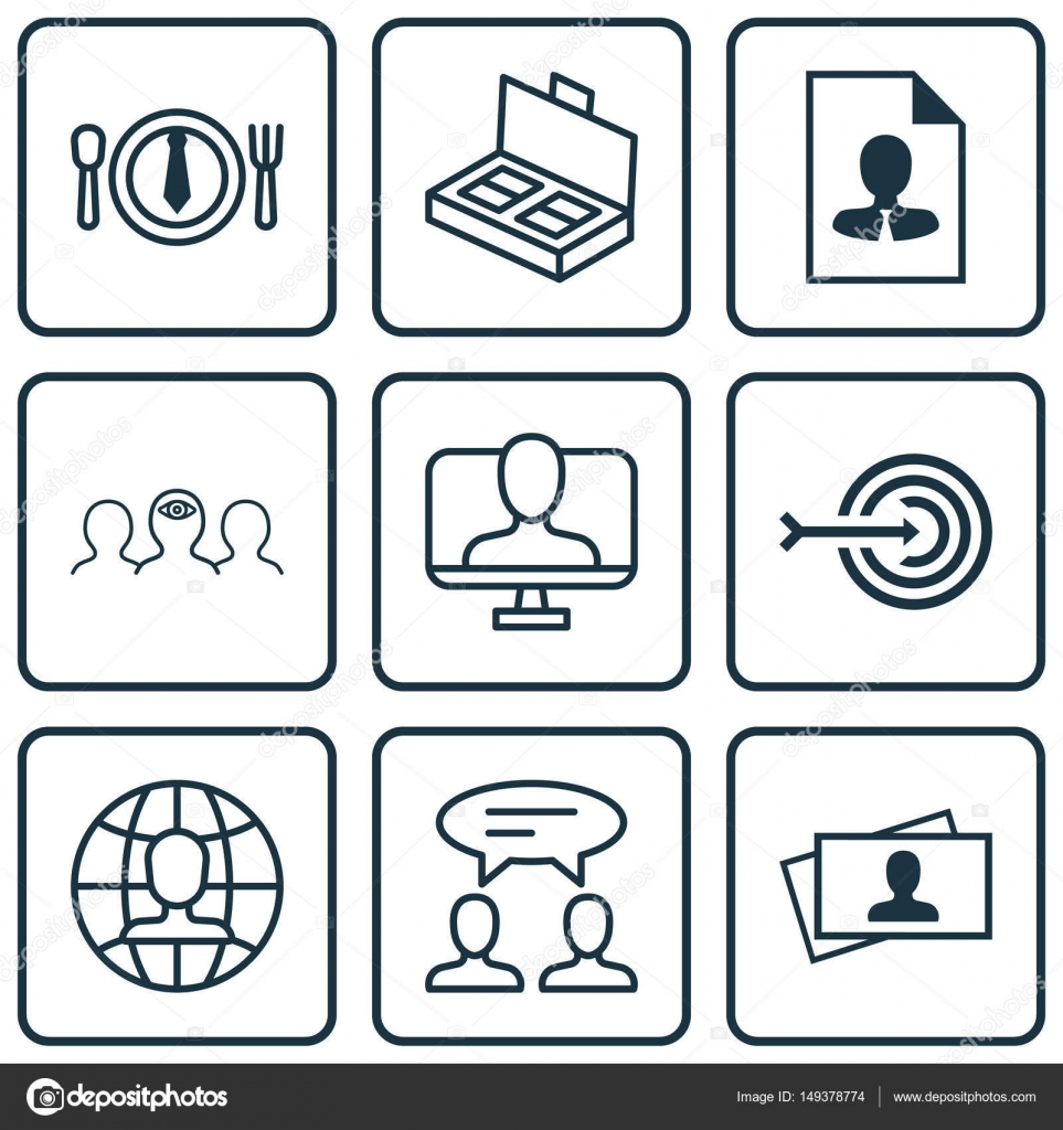 Set Of 9 Business Management Icons. Includes Calling Card, Dialogue ...