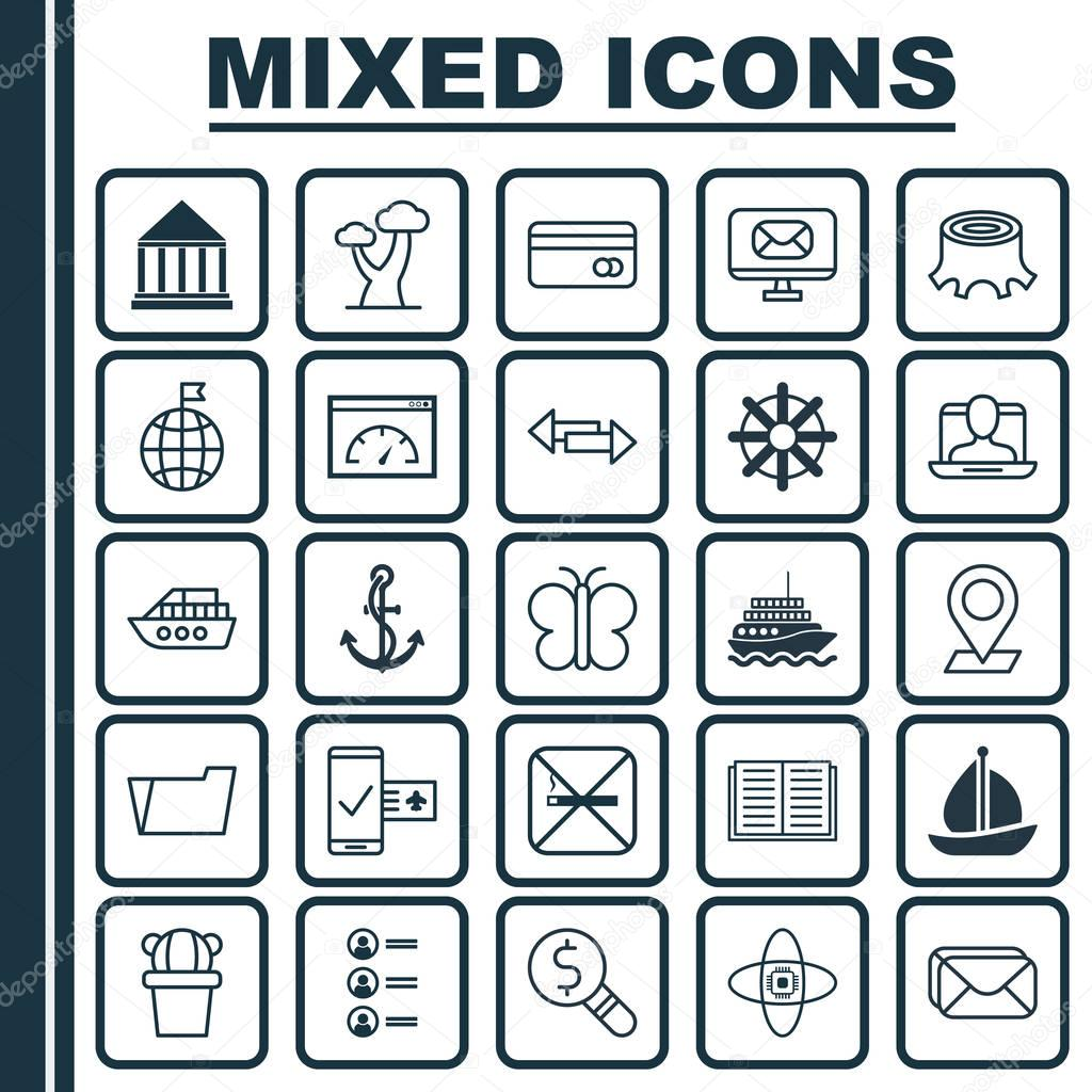 Set Of 25 Universal Editable Icons. Can Be Used For Web, Mobile And App Design. Includes Elements Such As Education Center, Yacht, Moth And More.
