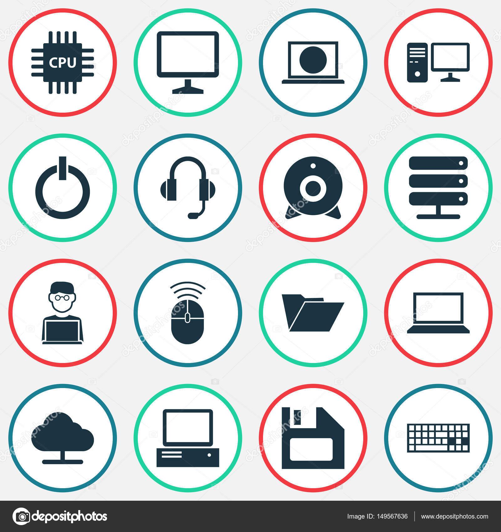 Laptop Icons Set. Sammlung von einschalten, Web, Dossier und anderen ...
