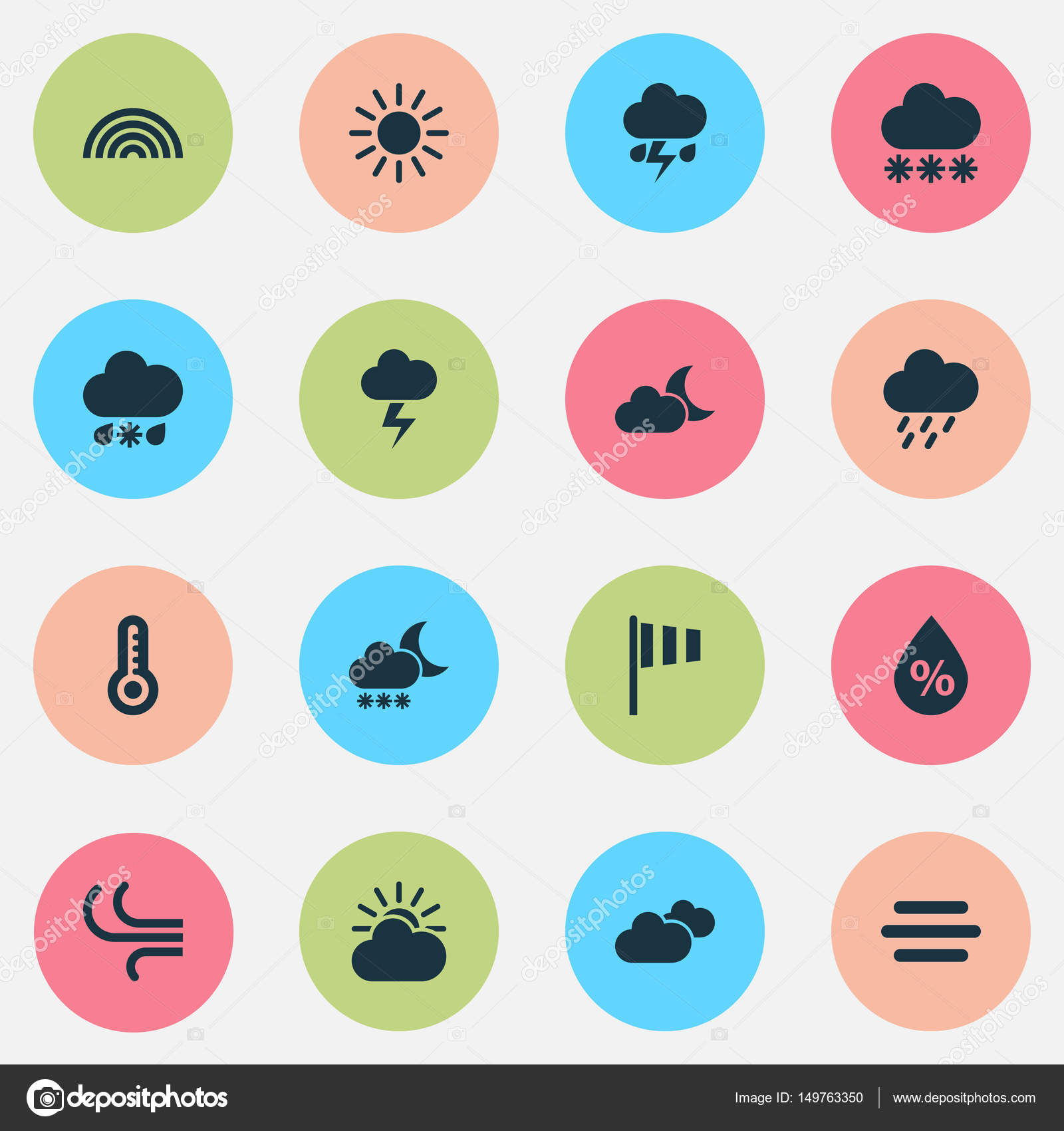 Weather Icons Set Collection Of Lightning Sun Cloud Douche And