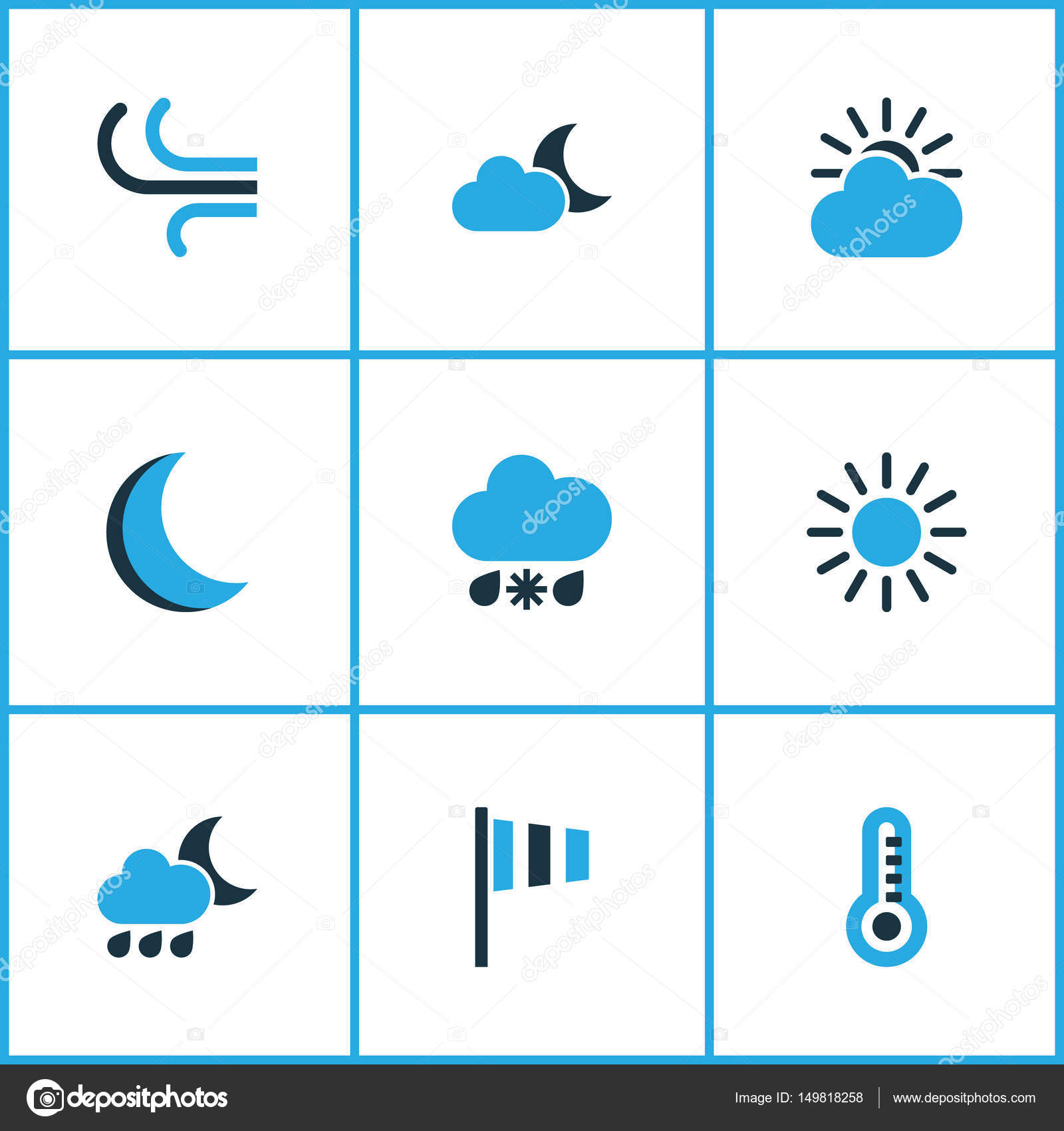 Nature Colored Icons Set Collection Of Moonshine Wind Speed Wind