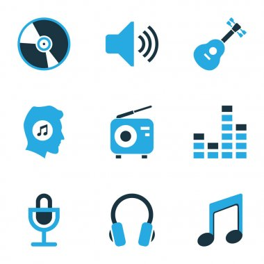 Music Colored Icons Set. Collection Of Note, Mixer, Guitar And Other Elements. Also Includes Symbols Such As Sound, Musical, Volume.